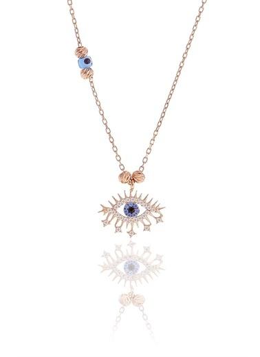 Söğütlü Silver Gümüş Rose Doricalı Lareyn Kolye Pembe
